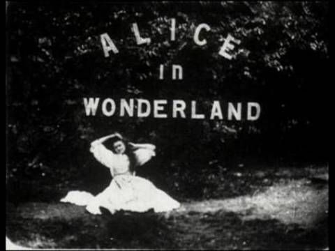 Early experimental cinema and the first movie version of Lewis Caroll's Alice In Wonderland (1903); directed by Cecil Hepworth