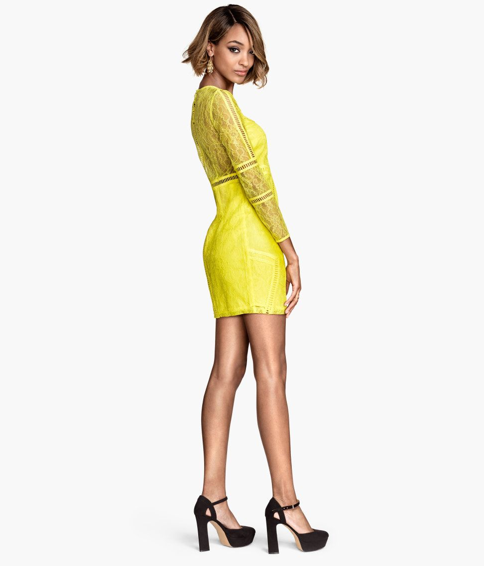 Turn up the voltage with this short longsleeve dress in neon yellow