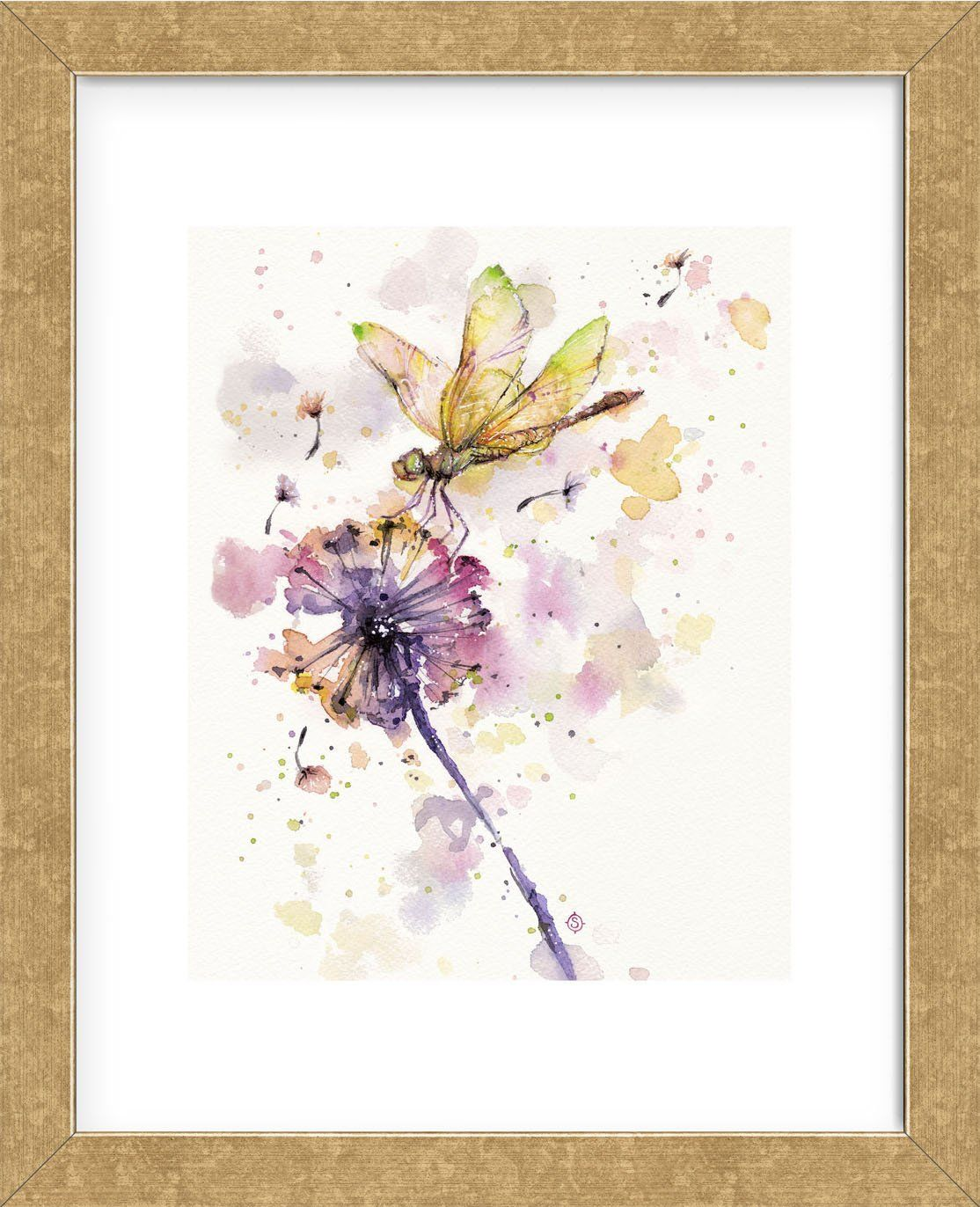 Dragonfly Dandelion Framed Dandelion Art Dragonfly Painting