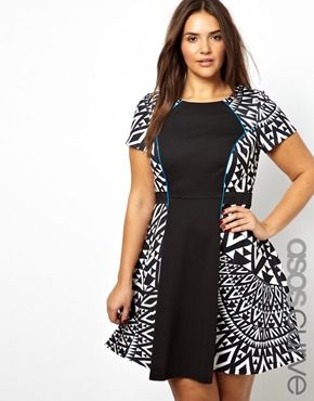 fb391bb7ea ASOS CURVE Exclusive Skater Dress With Mono Print Blocking Plus Size ...