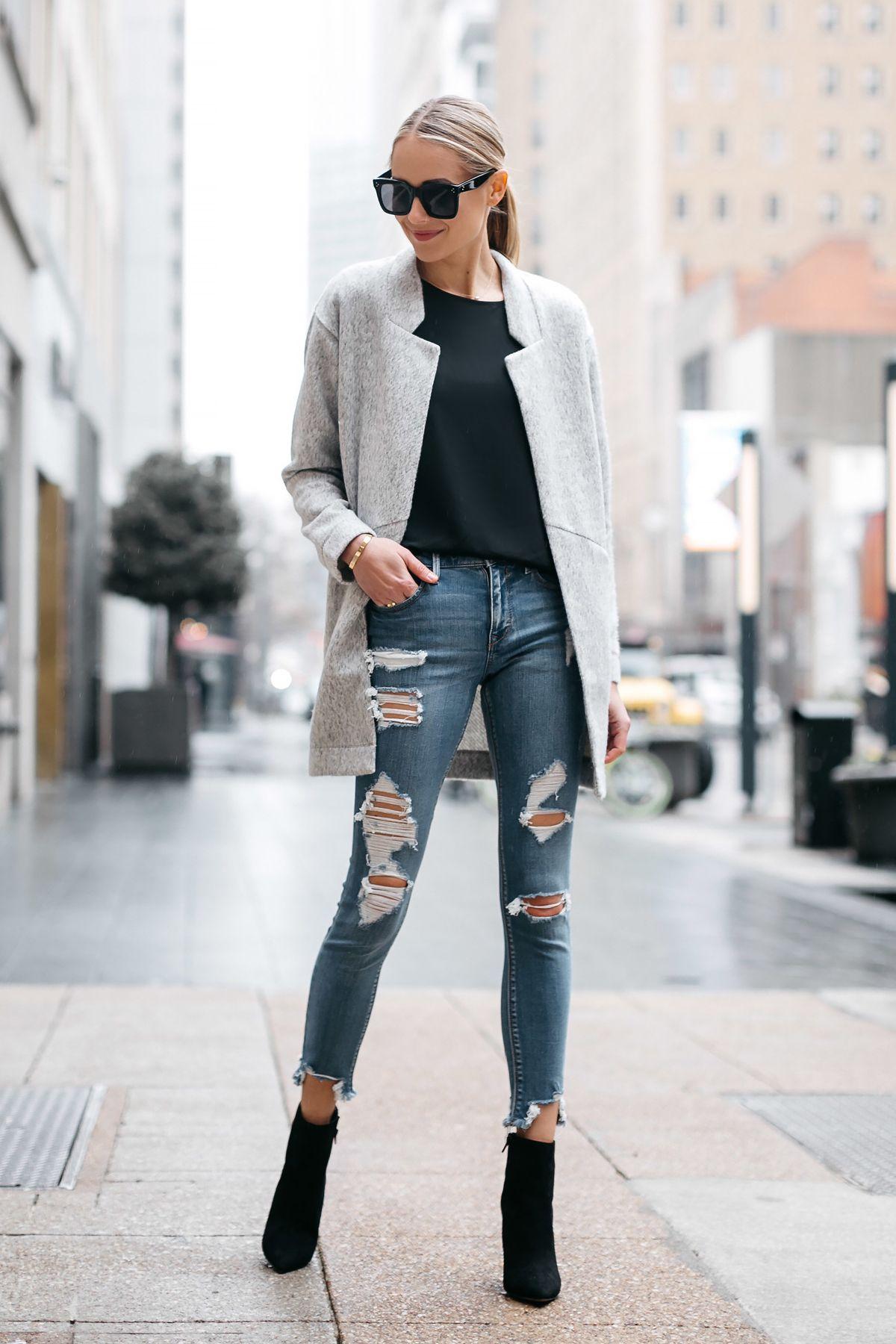 d7bc19fa4e53 Blonde Woman Wearing Express Grey Coat Denim Ripped Skinny Jeans Black  Booties Fashion Jackson Dallas Blogger Fashion Blogger Street Style
