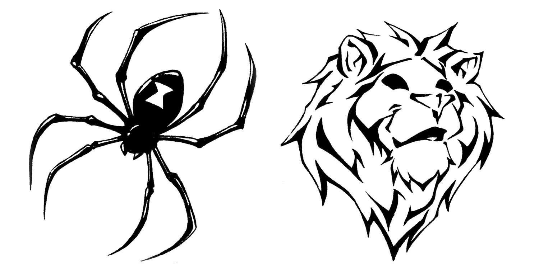 black spider and tribal designs tattoobite