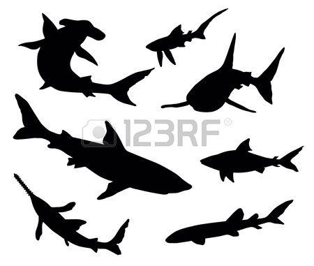 Vector Silhouettes Of Sharks Shark Tattoos Shark Silhouette Shark Images