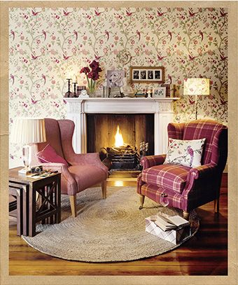 Country Living Room Days Homes And Interiors Featuring A Cosy Colour Palette Plus Plaid Armchair Patterned Wallpaper From Laura Ashley