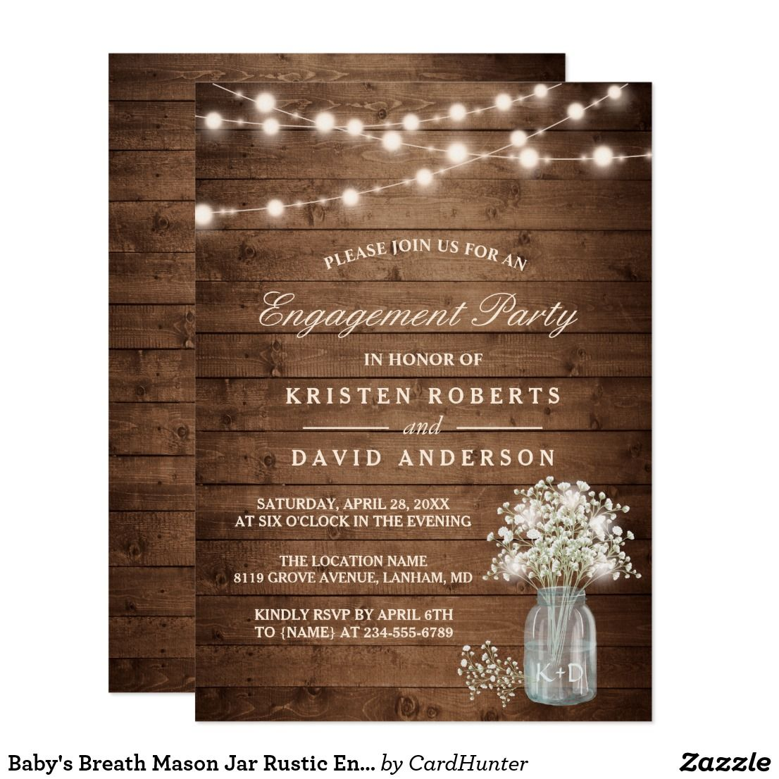 Baby S Breath Mason Jar Rustic Engagement Party Card Rustic
