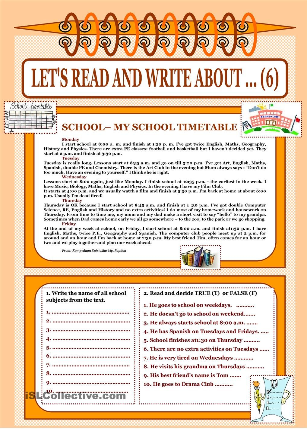 Daily Routine Time Adverbs Of Frequency School Timetable Reading Writing Reading Comprehension Lessons [ 1440 x 1018 Pixel ]