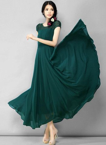 3ef000bdd Dark Green Lace Chiffon Maxi Dress with Cap Sleeves and Narrow Waist Y –  RobePlus