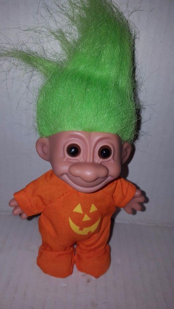 Russ Halloween Pumpkin Troll With Green Hair 4 1 2 Inches Russ