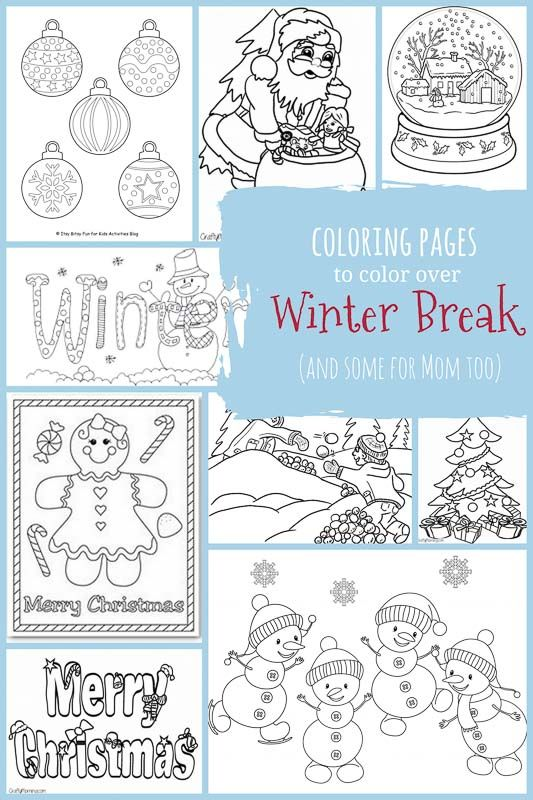 winter break coloring pages for kids and adults both winter and christmas coloring pages