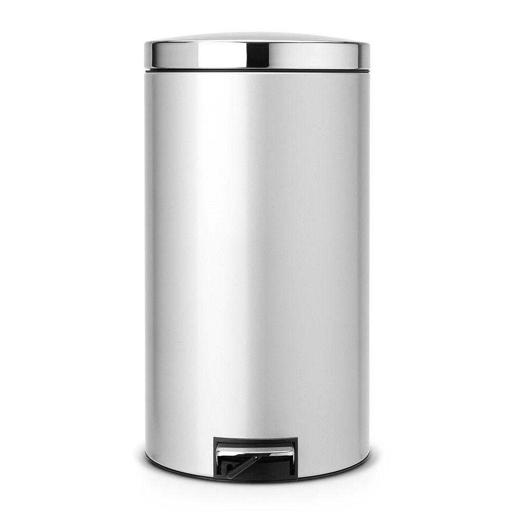 Pedal Bin Silent 45 Litre Metallic Grey With Brilliant Steel Lid Pedal Bin 45 Litre Pedal Bin Waste Bins