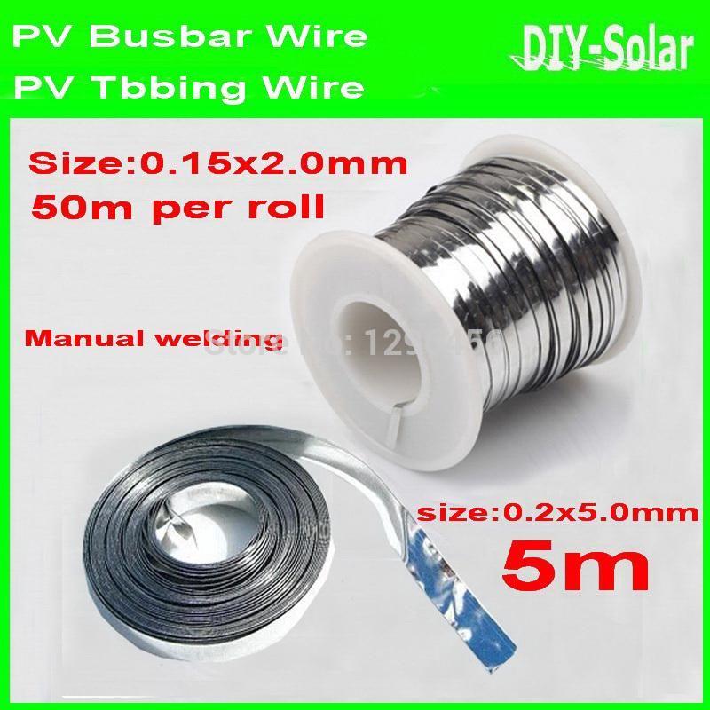50m Tabbing Wire 2.0mm + 5m Busbar Wire 5.0mm for DIY Solar Cells ...