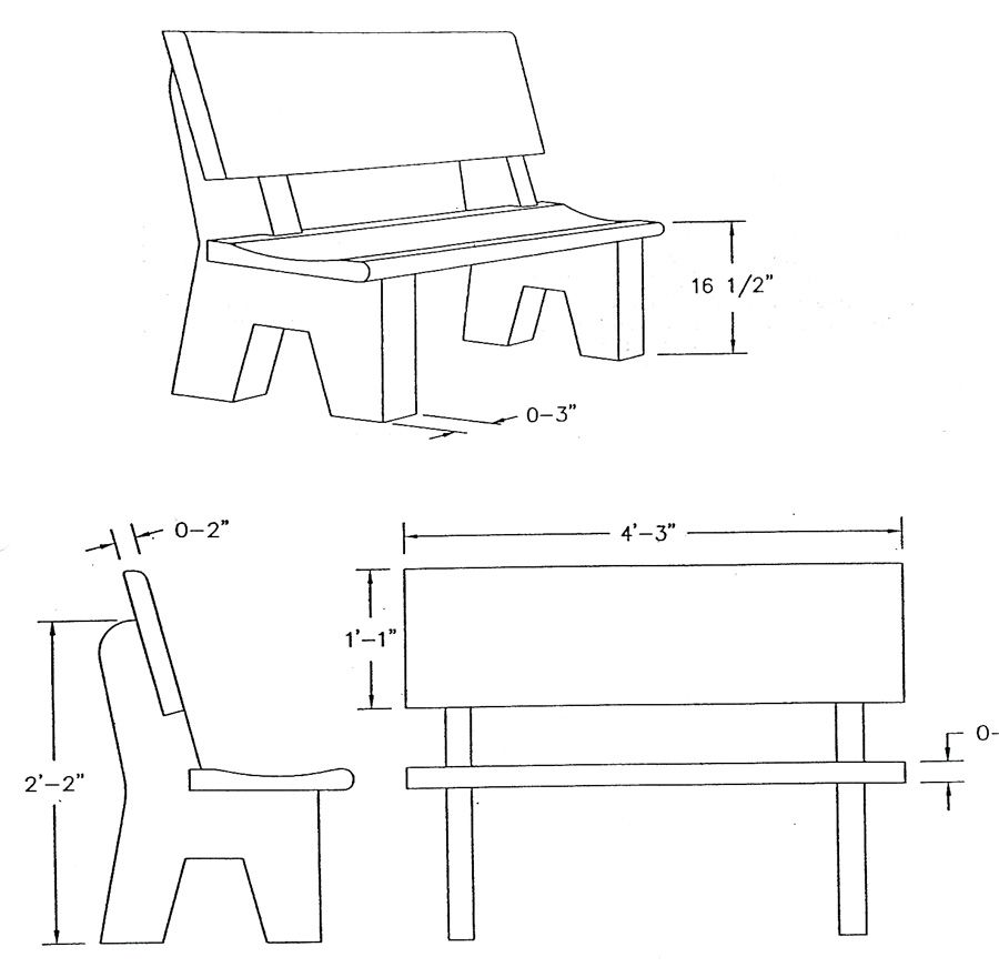 Outdoor bench dimensions download garden