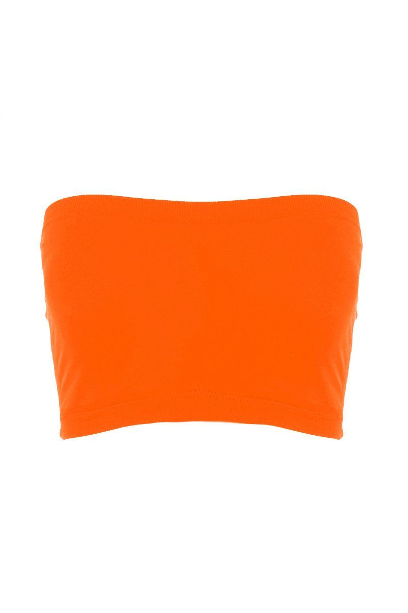 ecbb67acaa7 Seamless Crop Tube Top Neon Orange