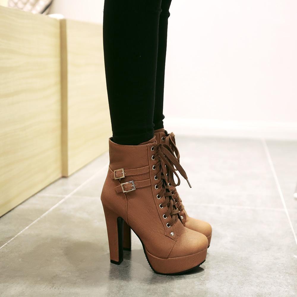 Women's Western Platform Lace Up Chunky High Heel Short Boots