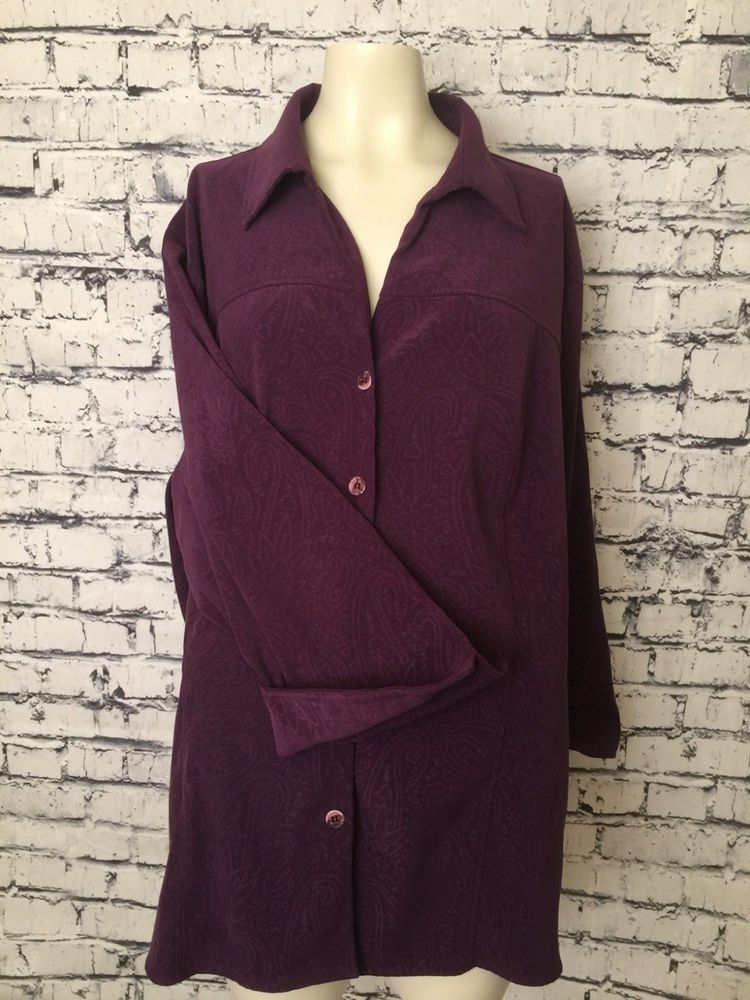 a8a4b2ec8adc3 Notations Women Plus Size Purple 2X Long Sleeve Velvet Feel Button Down  Blouse  Notations  Blouse  Casual