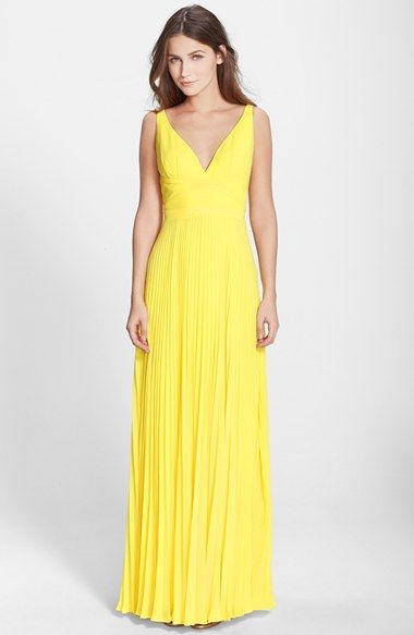 398551093 Laundry by Shelli Segal Open Back Pleated Chiffon Gown | Nordstrom ...
