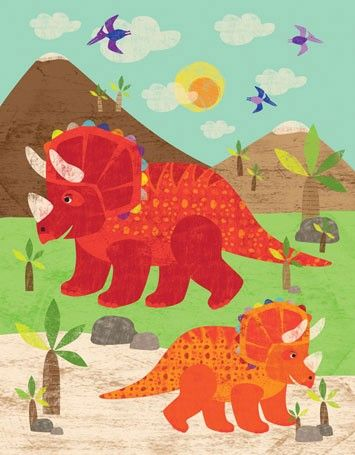 Dress up a bare wall with the Dinosaur Fun - Triceratops Canvas Wall ...