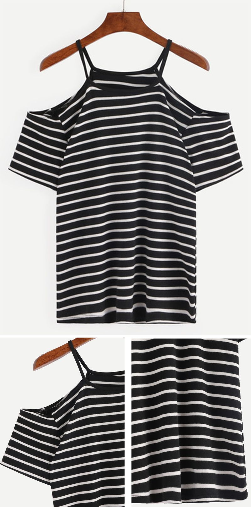 Black t shirt with white stripes - Cold Shoulder Black White Striped T Shirt