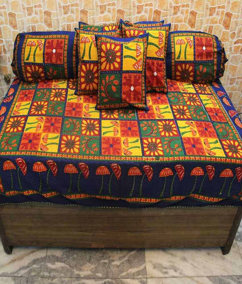 Bed sheets designs patchwork - Mable Rajasthani Collection Kantha Work Cotton Deevan Set With 5 Cusion And 2 Comforter