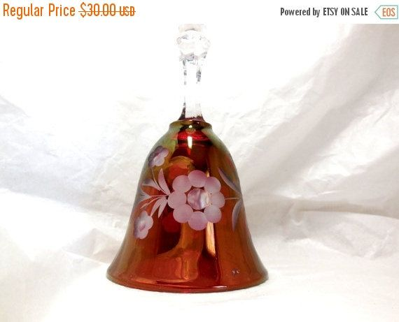 SPRING SALE Vintage BELL Cranberry/Clear Glass by JewlsinBloom