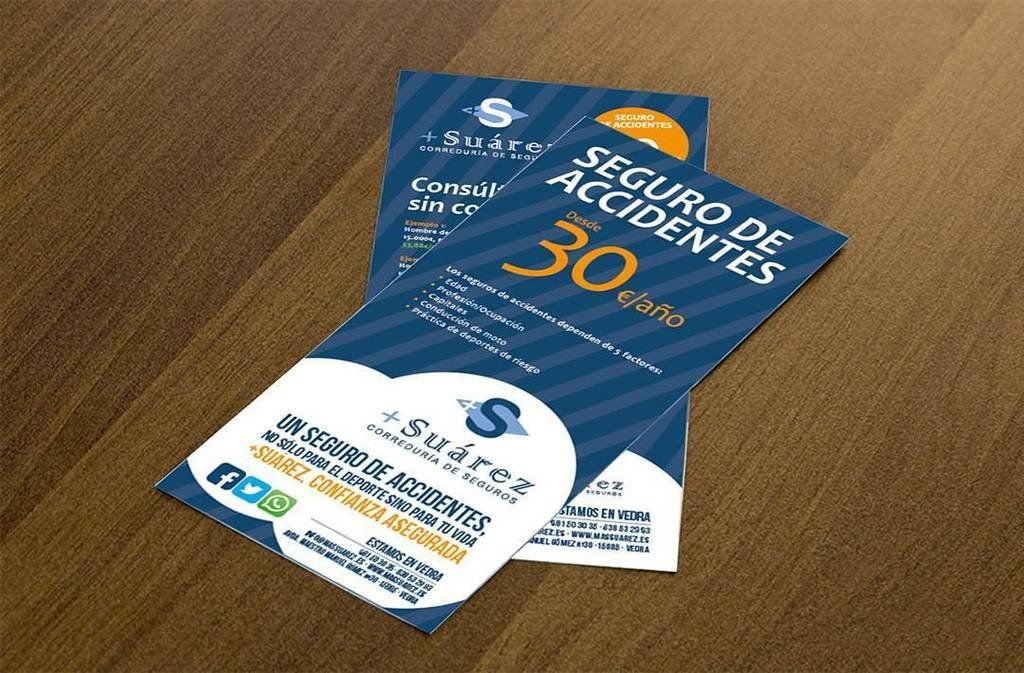 Diseño de flyer para promociones de la Correduría de seguros +Suárez
