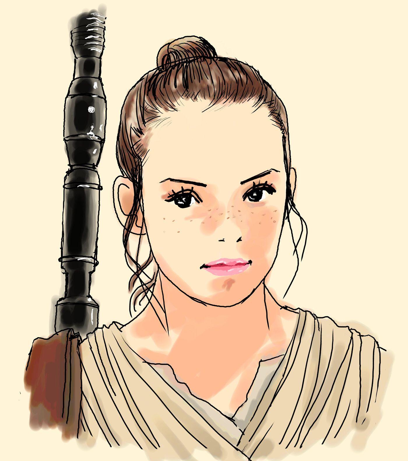 映画イラスト スターウォーズ フォースの覚醒 レイ Movie Illustration Starwars Forceawakens Rey イラスト 映画 漫画映画