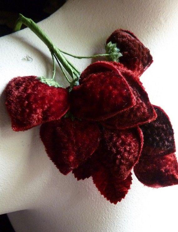 Velvet Millinery Strawberries for brooch