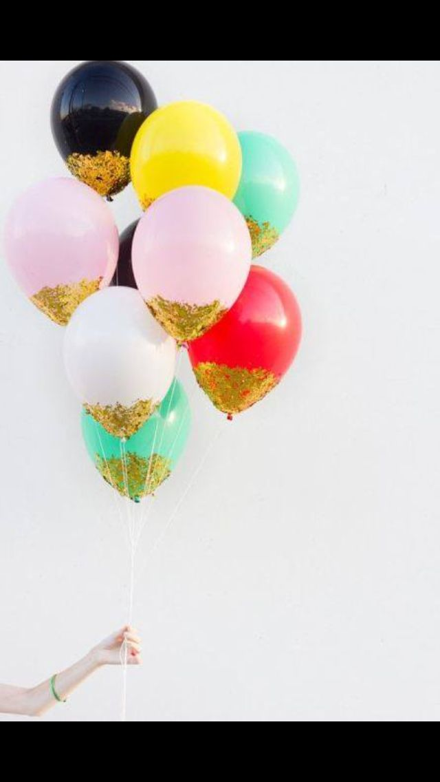 Dip balloon in glue and add any color glitter perfect for for Confetti dipped balloons