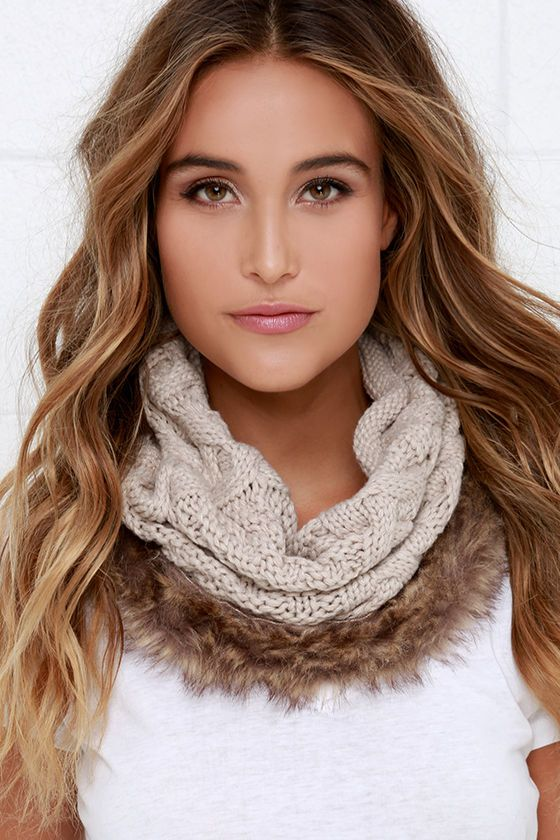 fashion woman super cowl soft and circle fur item new loop infinity scarf faux acrylic