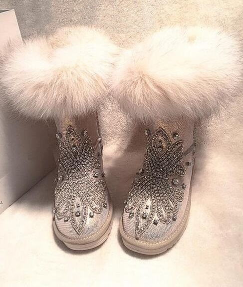 95.00$  Watch now - http://aliwhx.shopchina.info/1/go.php?t=32788285207 - Fashion Warm Winter/Spring Slip-On Casual Crystal Ankle Snow Boot Fur Round Toe Flat with Women Shoe Size9 Drop Ship Mujer Botas  #magazineonlinebeautiful
