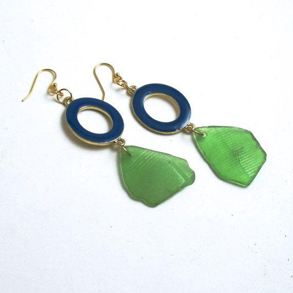 Kelly Green Sea Glass Earrings with Royal by MermaidTearsSeaglass, $11.99