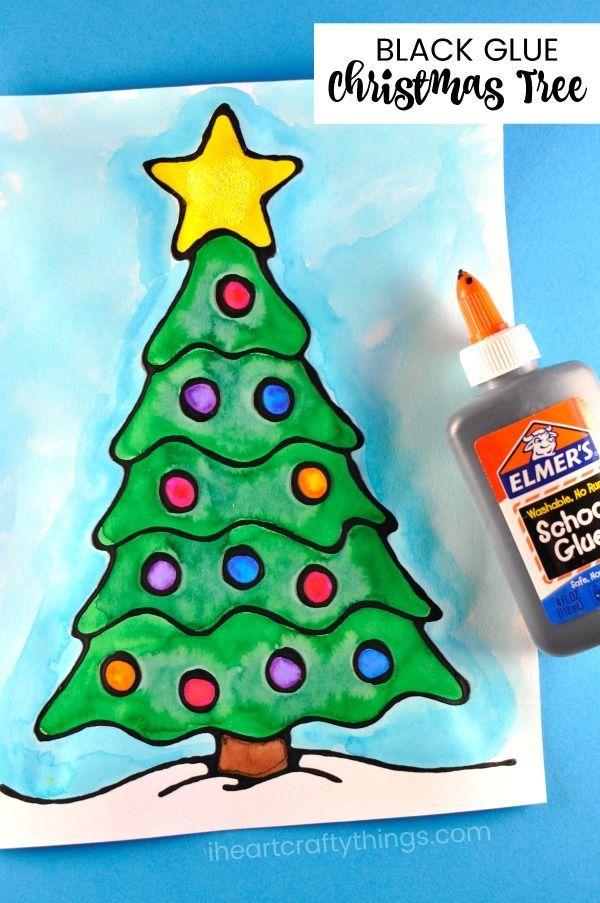Black Glue Christmas Tree Art Project Fun Christmas Art Project For Kids Christmas Arts And Crafts Christmas Art Projects Christmas Tree Art