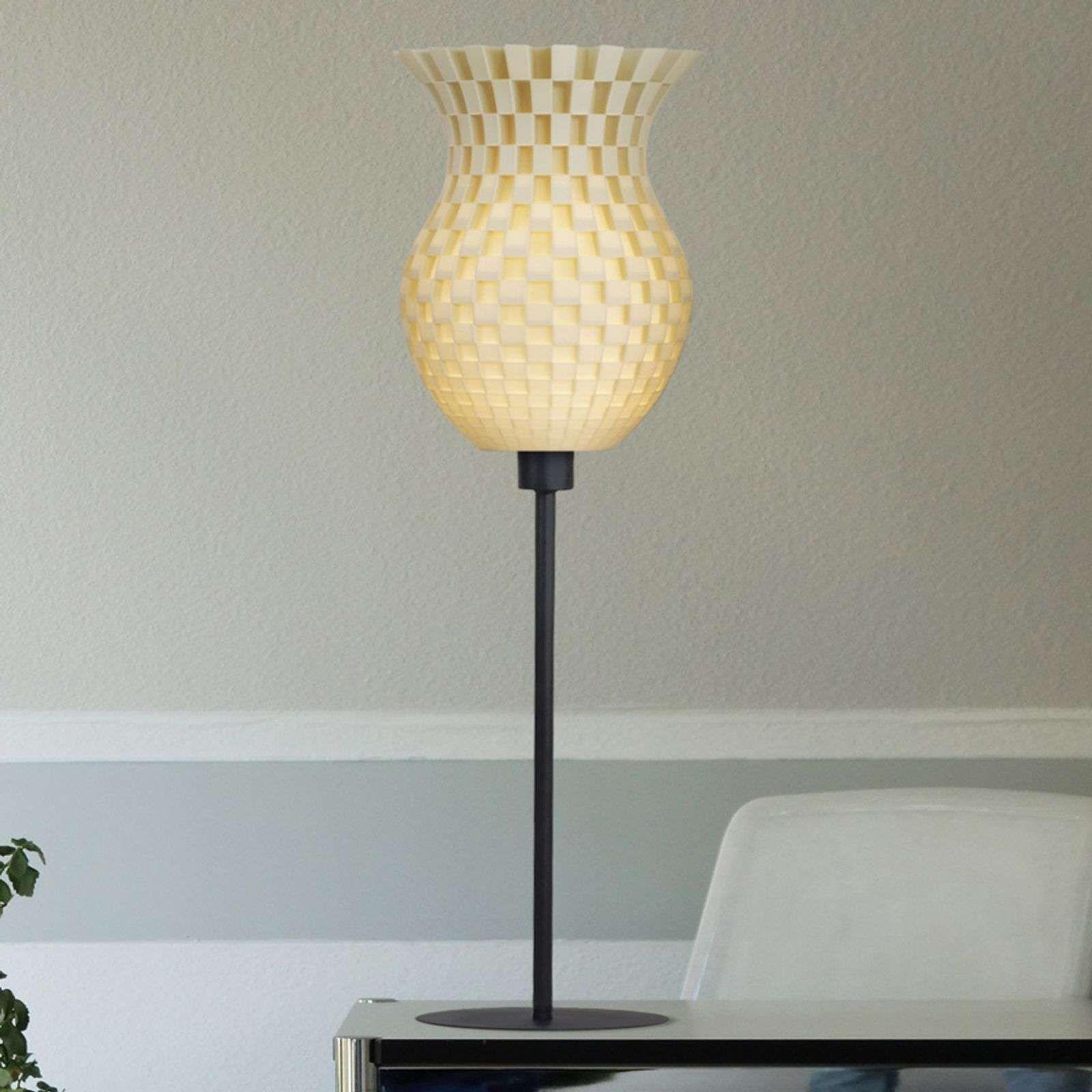 Tischleuchte Flechtwerk 3d Druck Creme Weiss Impression 3d Tressage Lampe A Poser