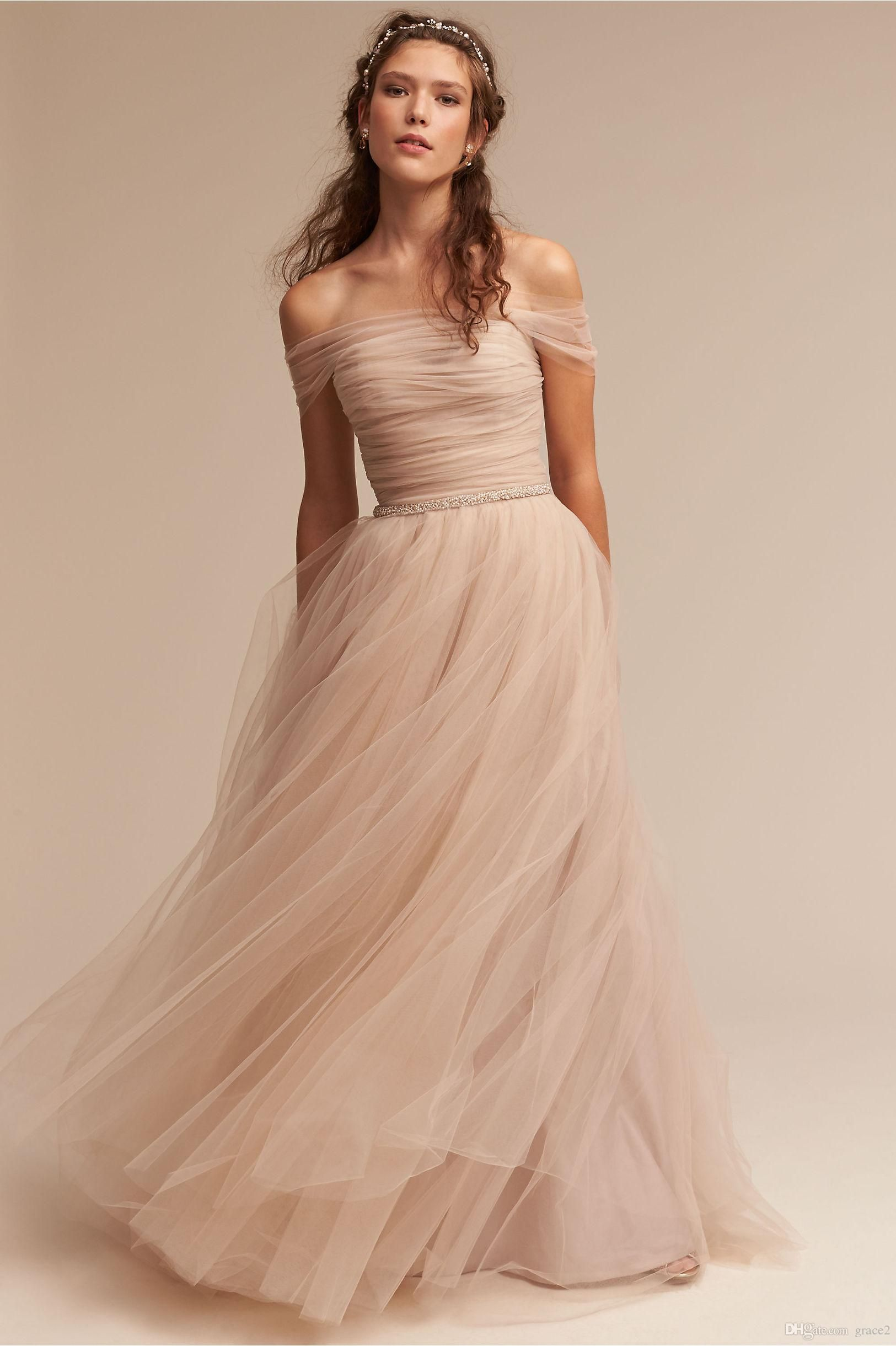 3deac409e69c Modern Blush Wedding Dresses 2017 Bhldn Vestido De Noiva with Illusion Off  Shoulder And Beaded Sash Pleated Tulle Romantic Bridal Gowns Blush Wedding  ...