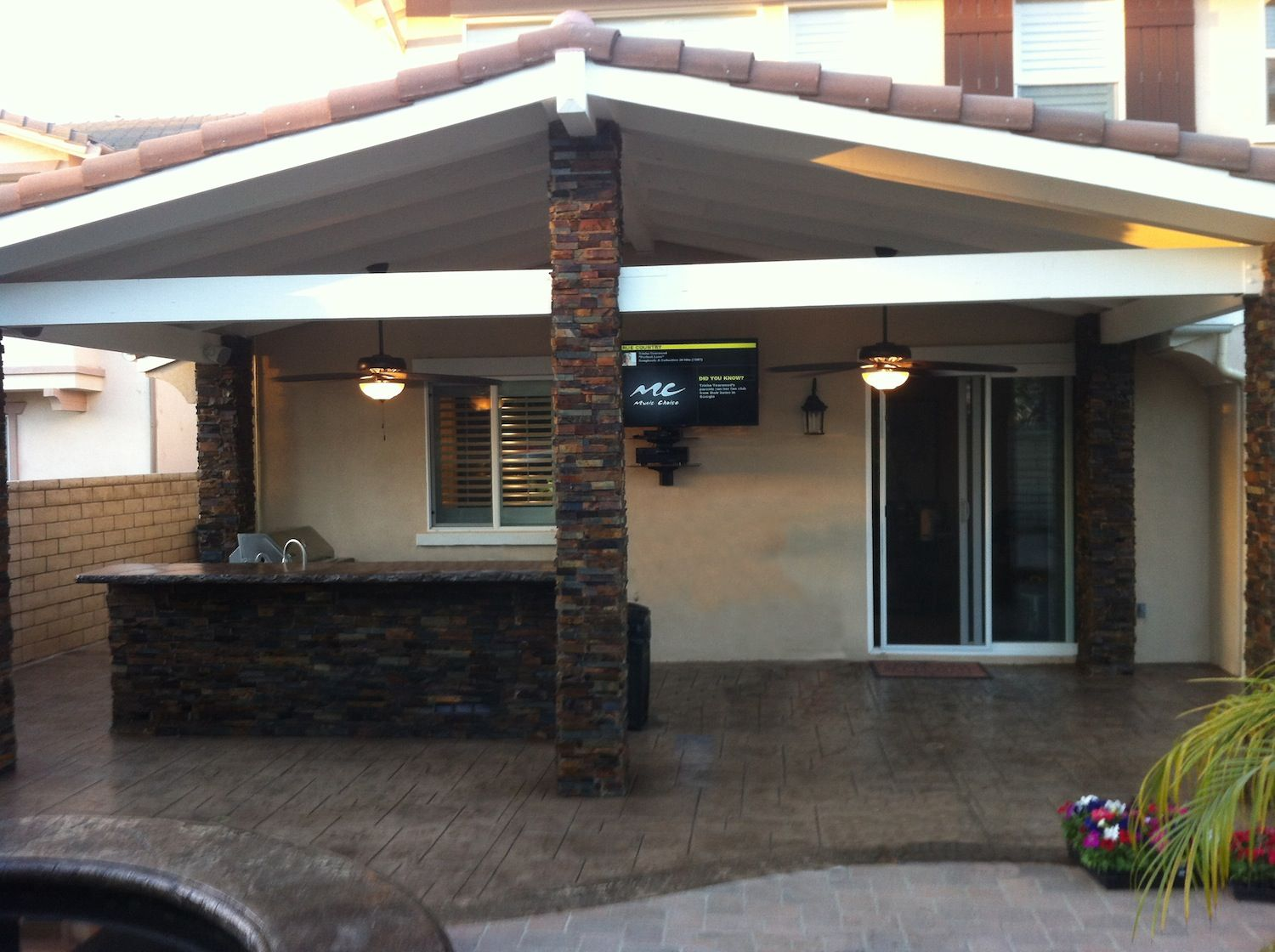 patio cover outdoor kitchen masonry stone work stamped