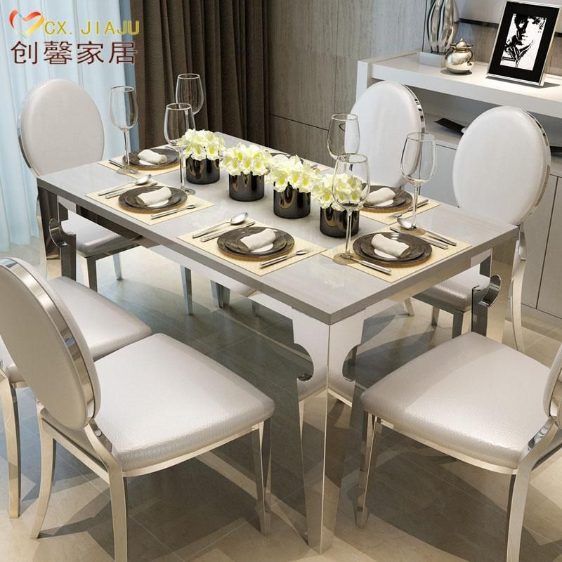 Rectangular Marble Dining Tables And Chairs Combination IKEA Dining Table  Small Apartment Modern Minimalist Dining Table