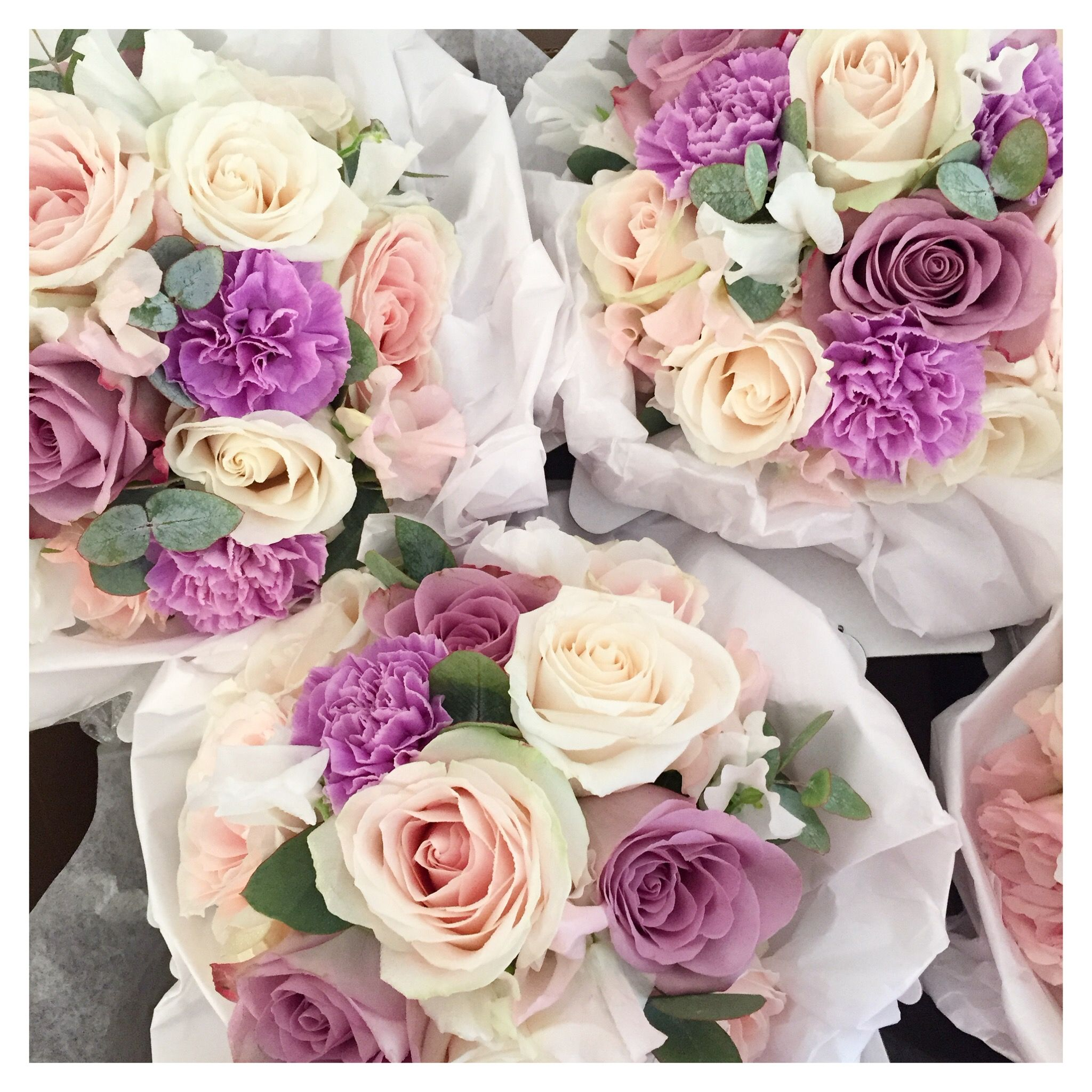Lilac Blush And Ivory Bridesmaid Bouquets Surrey Wedding Flowers By Boutique Blooms Floral Design