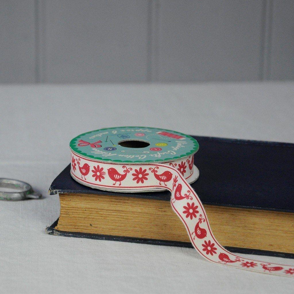 Vintage Crafts Cotton Ribbon Birds & Flowers   dotcomgiftshop   Winter Sale Now On