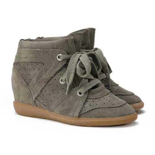 Online Isabel Marant Hidden Wedge Sneakers 19 Grey Suede Shop