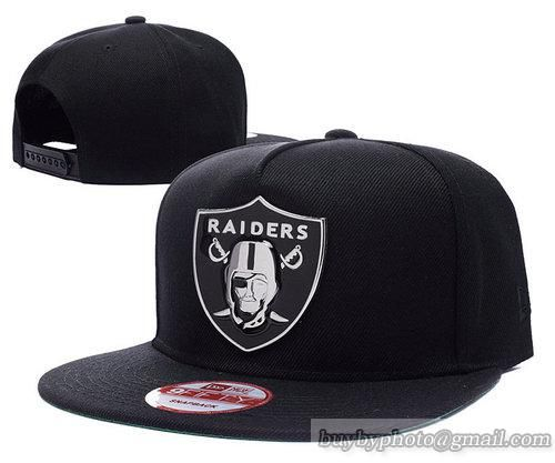 NFL Oakland Raiders Metal LOGO Snapback Hats Flat Hat Adjustable Caps Black  253 687c3f1d31c