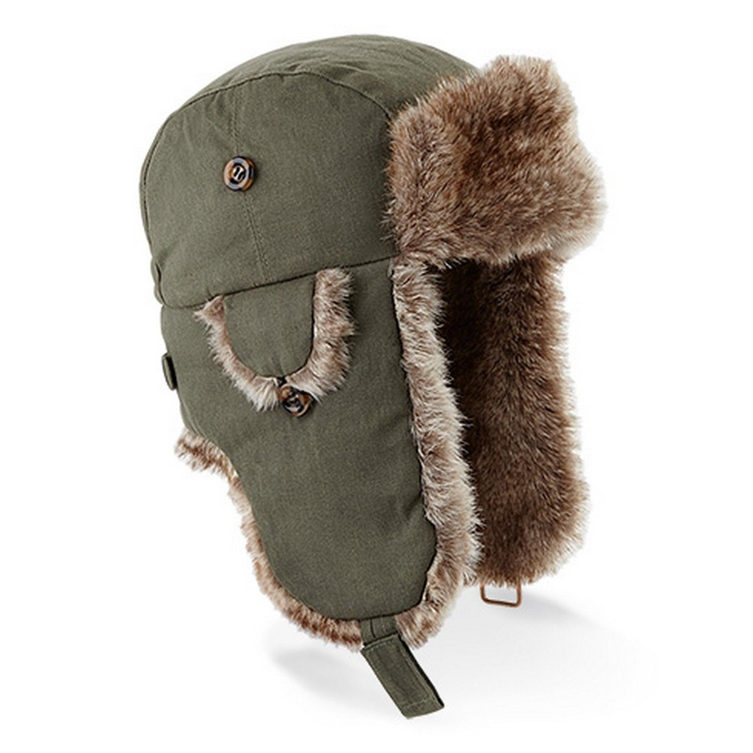4e4bd381ae5 Beechfield Urban Winter Trapper Hat With Faux Fur Trim || With ear flaps  for extra warmth and a faux fur trim to add a touch of style, this trapper  hat is ...