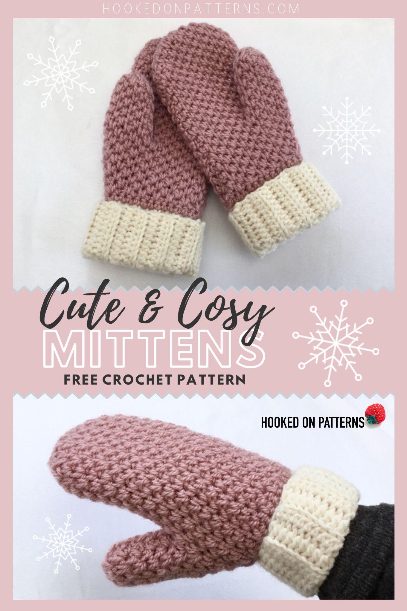 Cute & Cosy Free Crochet Mittens Pattern #crochetprojects