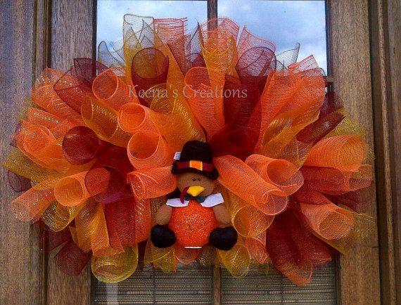 thanksgiving turkey fall deco mesh curly wreath by keenascreations 89 00