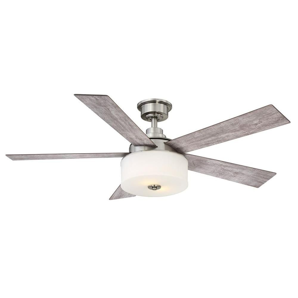 Hunter Morelli 52 Led Brushed Nickel Ceiling Fan At Menards: Home Decorators Collection Lindbrook 52 In. Indoor Brushed