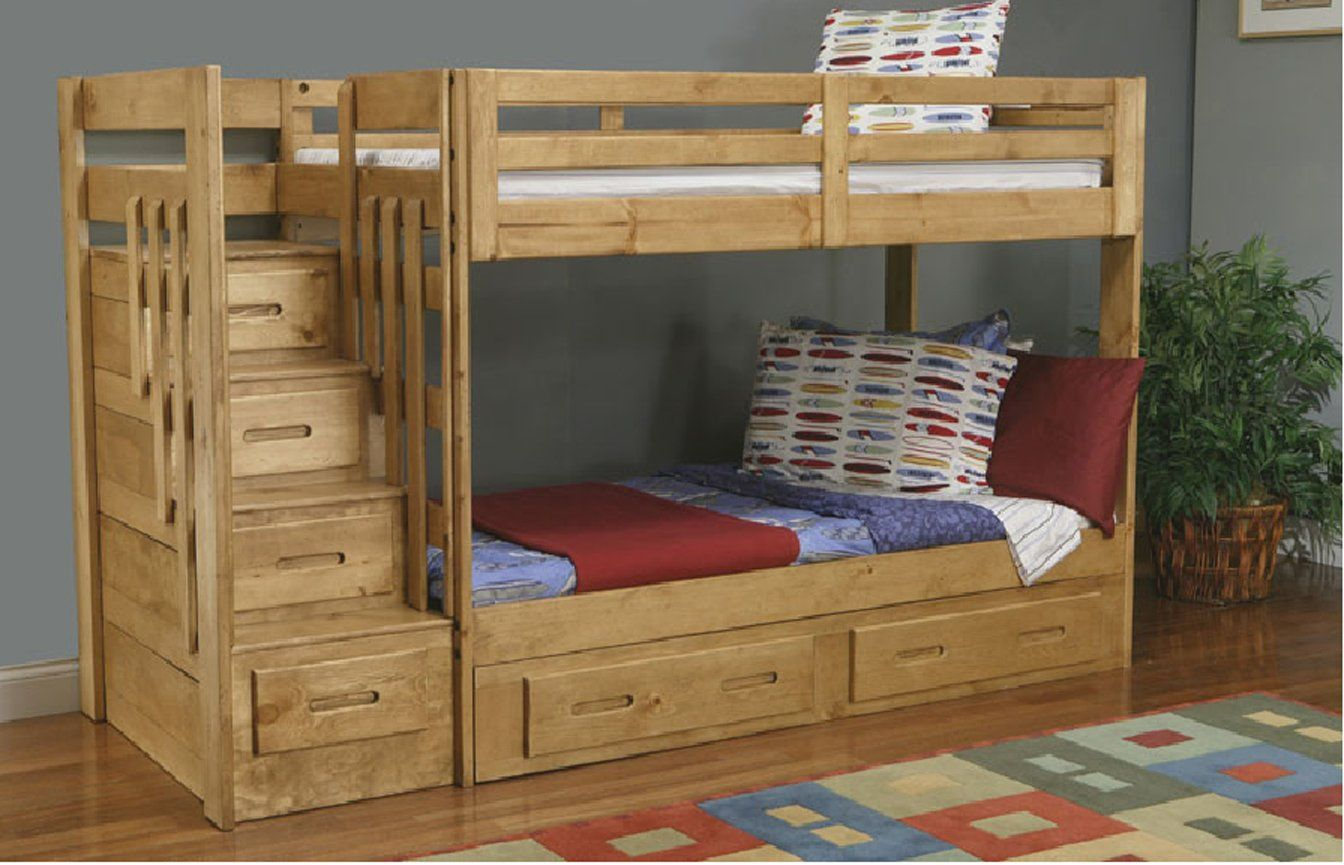 Bunk Bed With Stairs Plans Wooden Bunk Beds Staircase Bunk Bed
