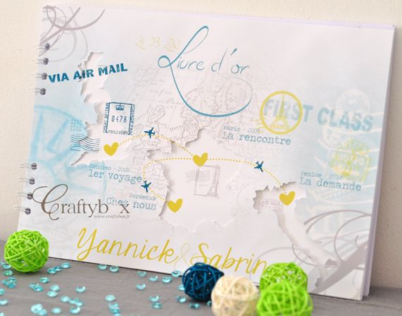 Livre D Or Mariage Voyage Turquoise Craftybox Mariage