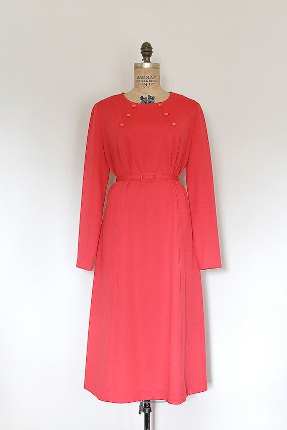 vintage 1960s dress // 60s red spool dress // by TrunkofDresses