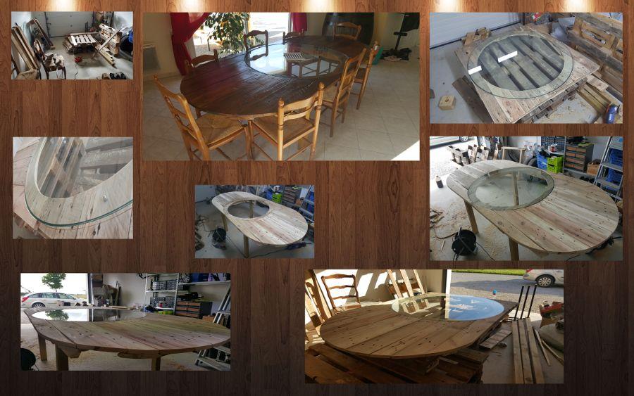 création table manger palettes d'une à originale avec grande YD92IHWE