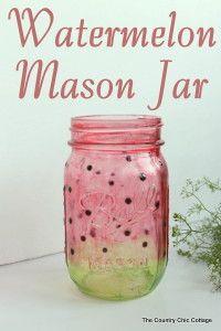 Painted Watermelon Mason Jar Craft