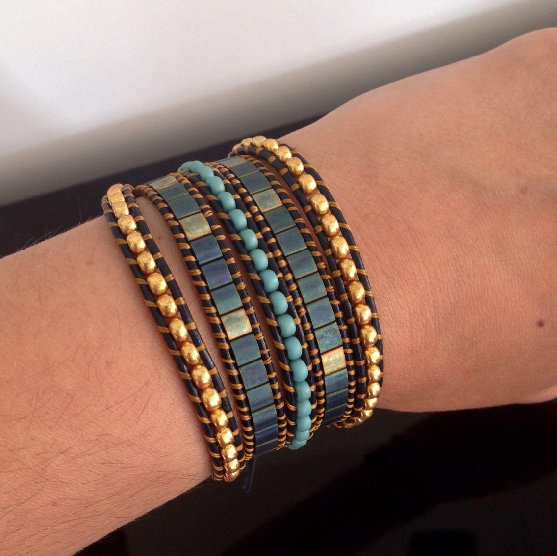 Bracelet wrap en cuir, fait-main.